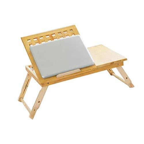 GZQDX Escritorio portátil Mesa, Ajustable de bambú Plegable Bandeja de la Cama inclinable Top Drawer, Portátil