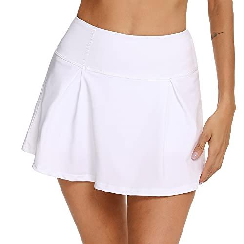 iClosam Faldas Deportivas Mujer Cómoda Faldas Plisadas Respirable Falda Corta Verano para Entrenamiento de Gimnasia Blanco S