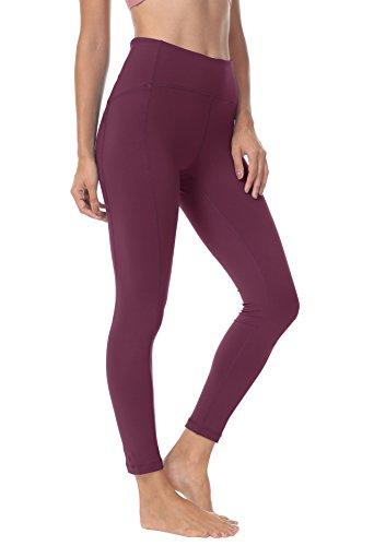 QUEENIEKE Polainas de Yoga para Mujeres Nueve Pantalones Medios de Correr Power Flex de Alta Cintura para Gimnasio Color Rosa Roja Tamaño M