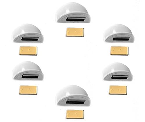 Khloex PACK X6 UNIDADES Tope Puerta Adhesivo de Madera para Suelo – Topes para Puertas con Imán y Placa de Acero Inoxidable (especial para puertas color blanco)