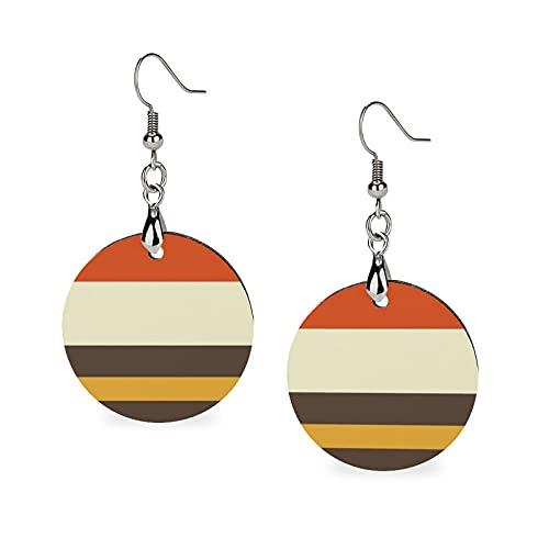 Pendientes de madera, redondos, colgantes de personalidad, para niñas, diseño vintage, naranja, gris, amarillo, crema, rayas