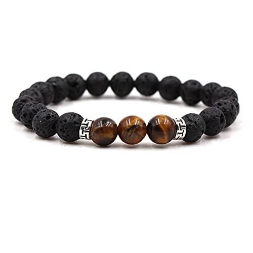 LLLMN Chakra Natural Pulsera de Piedra 8mm Black Lava Beads Bricolaje Pulsera del difusor de Aceite Esencial Pulsera de la Cadena de Buda Joyería de Yoga del Estiramiento