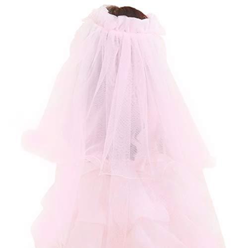 Lisanl Voile de mariée avec fleurs pour petites princesses - Bandeau double couche en tulle - Guirlande à volants - Dentelle florale - Couronne de fête de mariage - Bandeau perlé - 2 couleurs