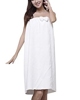 ZiXing Pareo de Bain Femme Serviette de Bain Robe Sarong Seche Spa Serviette a Sauna blanc OneSize