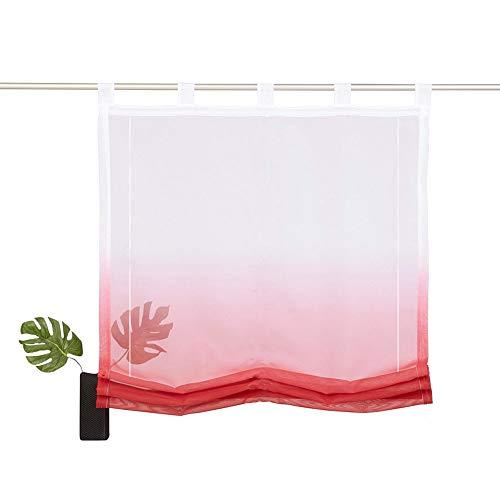 NECOHOME Schaufen Raffrollo Weiß Halb Transparent Voile Raff Gardinen Farbverlauf Fenster Vorhang 1er Pack im Landhausstil (Rot, 80x140cm)