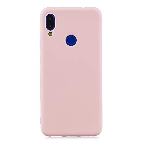 cuzz Funda para Xiaomi Redmi Note 7+{Protector de Pantalla de Vidrio Templado} Carcasa Silicona Suave Gel Rasguño y Resistente Teléfono Móvil Cover-Rosa Claro