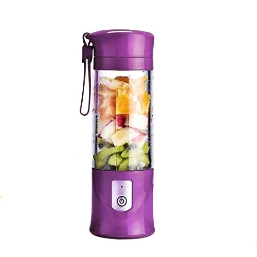 Portable Juicer Blender, USB Travel Juice Cup Baby Food Mixing Machince with Updated 6 Blades with Powerful Motor 4000mAh Rechargeable Battery,13Oz Bottle(purple)