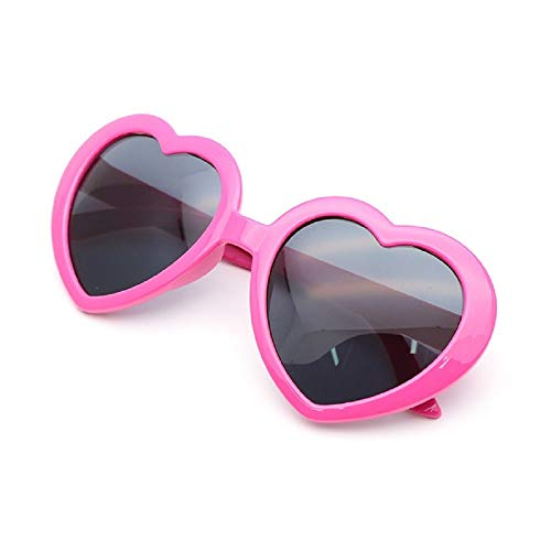 リタプロショップ? 面白サングラス UVカット ハートサングラス ハート型 眼鏡 めがね メガネ コスプレ パーティー (ローズピンク)
