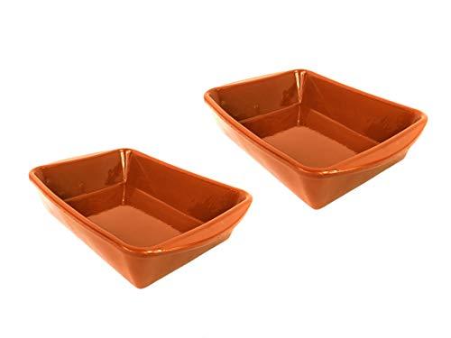 Pack de 2 cazuelas rectangulares 16cm x 14 cm. Apta para Horno, Gas, vitrocerámica y lavavajillas. Hecho en España