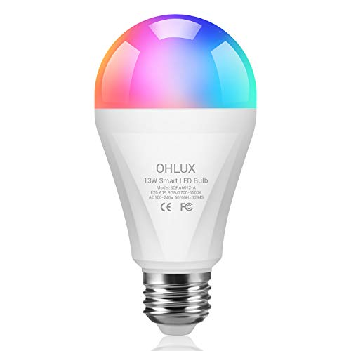 OHLUX Smart WiFi LED Light Bulbs Work with Alexa Google Home 1300Lumen 120W Equivalent, RGBCW Multi-Color, 2700-6500k Dimmable,Voice Control 13W E26 A19 Color Changing Bulb-1PACK