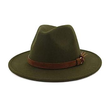 Lisianthus Men & Women Vintage Wide Brim Fedora Hat with Belt Buckle A-Olive 59-60cm