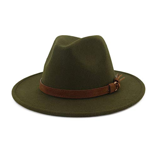 Lisianthus Men & Women Vintage Wide Brim Fedora Hat with Belt Buckle A-Olive 56-58cm