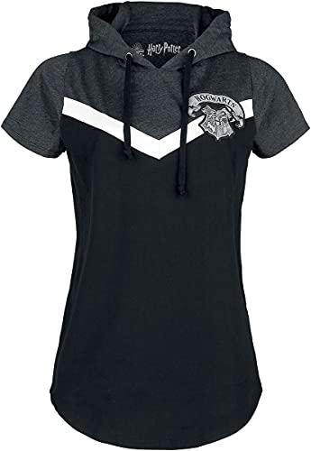 HARRY POTTER Poudlard Femme T-Shirt Manches Courtes Noir/Gris M, 100% Coton, Regular/Coupe Standard
