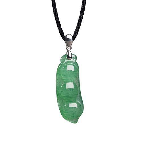 Xiaokeai Collares Dongling Verde Jade Hombres y Mujeres Colgante Collar Pendiente de la Haba Tazón Suerte Frijol Collar Joyeria Mujer