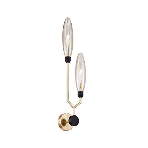 Applique Murale, Style Moderne, Loft, Design original, Armature en Métal couleur or, abat-jours sont en verre ambré, 13 ampoules, excl. 2 x G9 28W