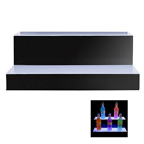 ZYD Home Bar Lighting Estante de exhibición de Botella de Licor Iluminado por LED de 2 Niveles con Control Remoto para la Fiesta de Navidad de la Boda de cumpleaños, Club, Bares