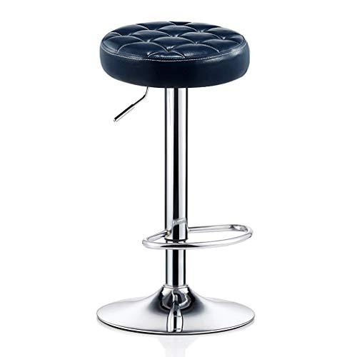 CYLQ Rotating Lift Bar Kruk, Aanrechthoogte Verstelbare Bar Stoel, Olie Wax Lederen Plating Voetstoel, Thuis Ontbijt Bank Kruk, 4 Kleuren, 60-80cm (kleur : Donkerblauw)