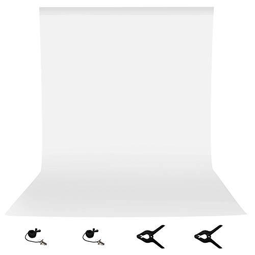 Sfondo fotografico 3,0 x 3,7 m/3 x 3,6 metri bianco Chromakey mussola sfondo schermo con 2 morsetti e 2 clip di fondale per foto video studio fotografia youtube video