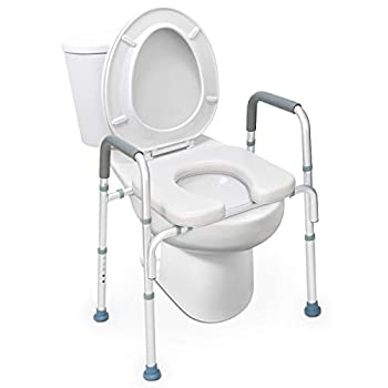OasisSpace Stand Alone Raised Toilet Seat 300lb - Heavy Duty Medical Raised Homecare Commode and Safety Frame Height Adjustable Legs Bathroom Assist Frame for Elderly Handicap Disabled