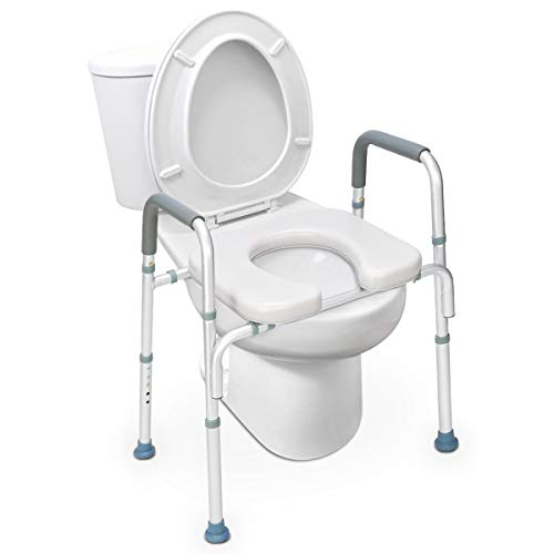 OasisSpace Stand Alone Raised Toilet Seat 300lb - Heavy Duty Medical Raised Homecare Commode and Safety Frame, Height Adjustable Legs, Bathroom Assist Frame for Elderly, Handicap, Disabled
