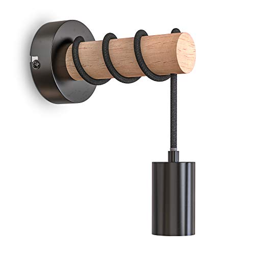 B.K.Licht Lampada da parete retrò in metallo e legno, lampadina E27 non inclusa, applique vintage, design industriale, ideale per ambienti rustici e moderni, IP20