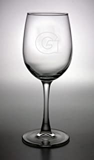 Georgetown Hoyas Deep Etched White Wine Glass