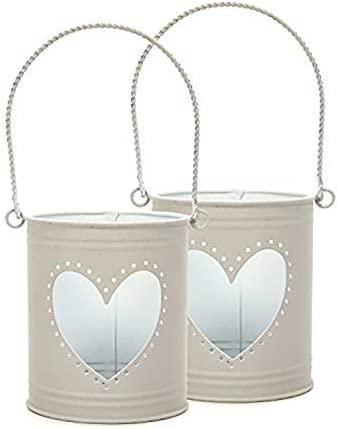 Hosley Set of 2 Lanterns, 4 inch High with Heart Cutout. Ideal G