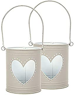 Hosley's Set of 2 Lanterns, 10cm High with Heart Cutout. Ideal Gift for Weddings, Party, DIY Craft and Floral Projects, Pa...