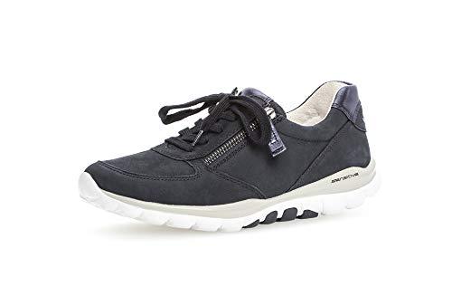Gabor Damen Sneaker, Frauen Sneaker Low,Optifit-Wechselfußbett, Halbschuh strassenschuh schnürer schnürschuh,Nightblue (S.Weiss),39 EU / 6 UK