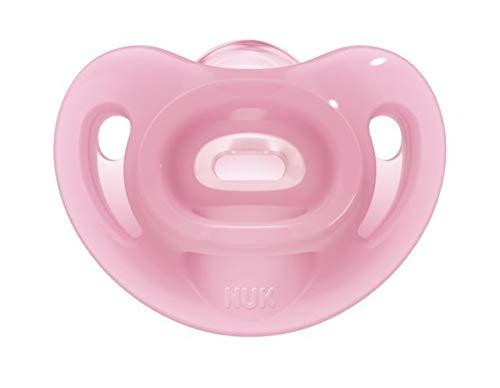 NUKヌークおしゃぶり衛生的な消毒ケース付[手指なめ防止に]100%シリコン驚きのフィット感ソフトまるでおっぱいセンシティブピンク新生児0~6ヶ月0か月~OCNK901039143