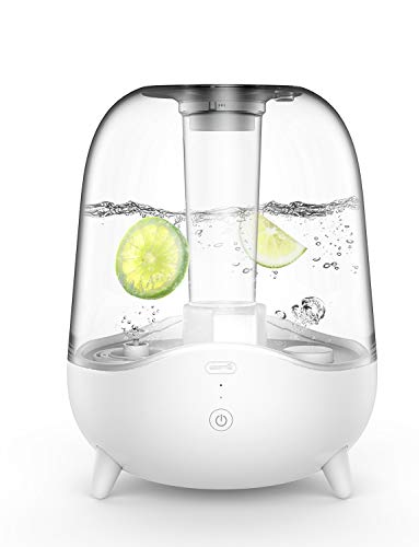 Deerma 5L Crystal Clear Ultrasonic Cool Mist Humidifier for Bedroom, Large Room, Office, Baby with Transparent Water Tank, Auto Shut Off, Adjustable Mist Volume, Whisper Quiet, Lasts 24 Hours
