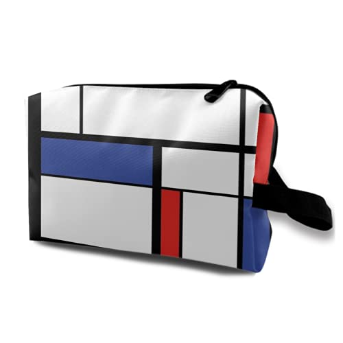 Neceser Colgante de Viaje,patrón Azul,Pintura Moderna Abstracta en Mondrian,Colorido Bauhaus,Organizador de Maquillaje geométrico,cosmético,Bolsa de higiene y Organizador de Ducha