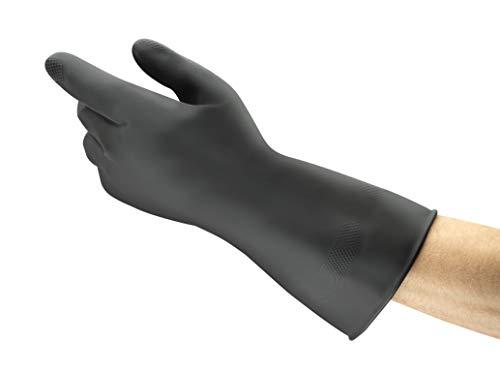 Comasec & Marigold Ansell Black Heavyweight G17K / 10.5 Naturgummilatexhandschuh, Chemikalien und Flüssigkeitsschutz, Größe 10,5, Schwarz (12 Paar pro Beutel)