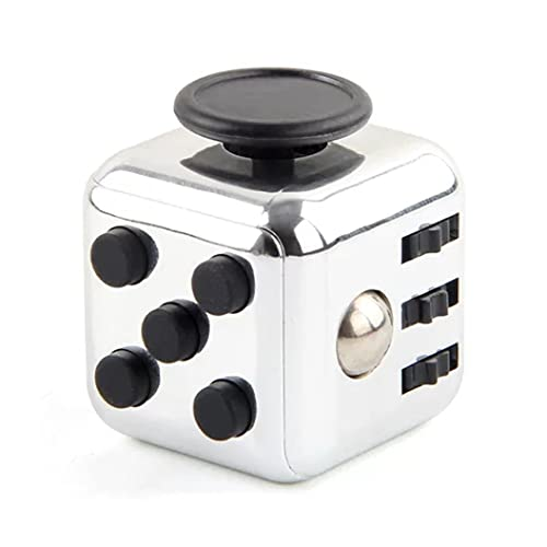 Juguete Cubo FidgetToys mágico,cube Anti-ansiedad Anti-Stress Cube FidgetToy para niños,Adolescentes y Adultos Stress Color Plata