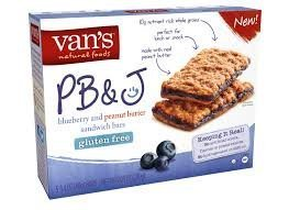 Van's, Gluten Free, Snack Bars, PB&J Blueberry & Peanut Butter Sandwich Bars, 7.05oz Box (Pack of 4)
