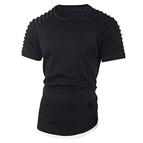 Supertong Herren Shirt Rundhals Einfarbig Plissee Slim Fit Kurzarm T-Shirt Bluse Sommermode Grundlegende Sport Fitness Funktionsshirt Unterhemd