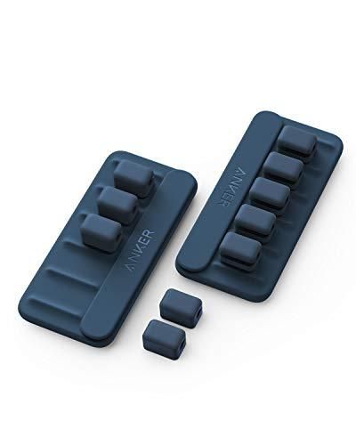 Anker Magnetic Cable Holder 2個セット マグネット式 ケーブルホルダー ライトニングケーブル USB-C ケーブル Micro USB ケーブル 他対応 (ブルー)