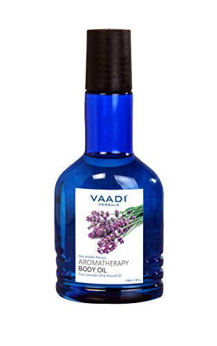 Aromatherapy Oil - (Aromatherapy Body Oils - Essentials Lavender and Almond Oil) Benefits (Anti Aging, Anti Wrinkle Herbal Ayurveda Therapy) 100% Natural Pure Therapeutic Grade Aromatherapy Essential Oils. Used for Relaxation, Tranquil Sleep, Headache and Migraine Relief, Hair Growth and Scalp Issues. Soothing and Calming for Stress Reduction. Best Massage Oil, Bath Salts, Lotions, Body Wash, Body Splash and Hand Soap. Reduces Skin Wrinkling and Improves Skin Complexion. Make Your Own Linen Spray and Use with Your Pet Dogs. Use in Making All Natural Non-toxic Insect Repellent. - 3.72 Ounces - Vaadi Herbals