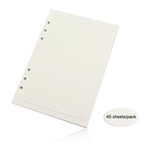 Evilandat 6 Loch Gebundenes Notizbuch Reisetagebuch Journal Loose Notizpapier Ersatzblätter Büro Schule Schreiben 45 Blätter A5 A6 A7, 3 Set