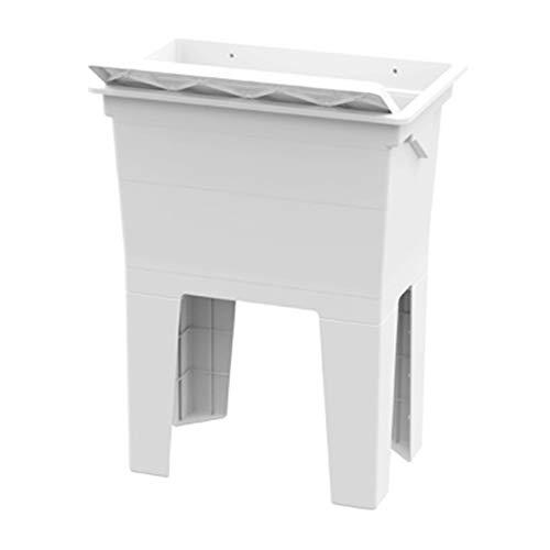 Mueble lavadero monobloque de resina con eje de lavado blanco 7851C98