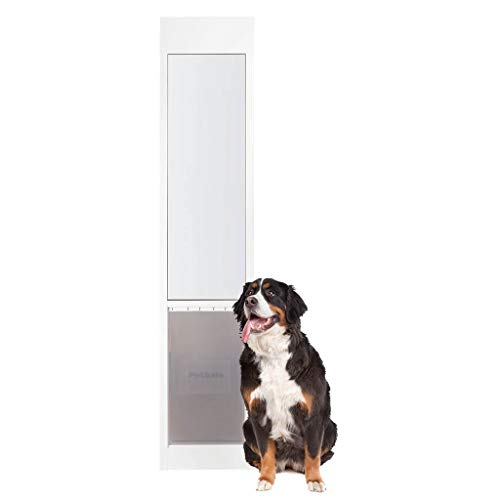 PetSafe Freedom Aluminum Patio Panel Sliding Glass Dog and Cat Door, Adjustable 76 13/16 in to 80 11/16 in - X-Large White Pet Door