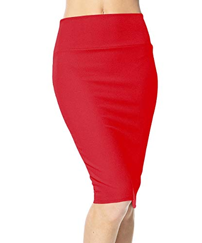 Urban CoCo Women's High Waist Stretch Bodycon Pencil Skirt (S, red)