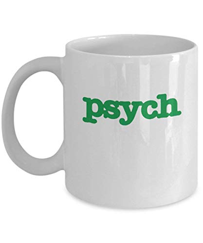 Psych TV Show Coffee Mug Cup (White) 11oz Psych TV Show Series Fan Gift Merchandise Accessories Decal Sticker Decor Shirt Pin - Shawn Gus Juliet Carlt