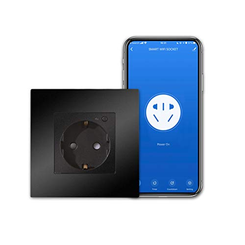 CNBINGO Enchufe inteligente compatible con Alexa/Google Home/dispositivo IFTTT, 16 Amp Single WiFi hembra con botón encendido/pantalla, aplicación Smart Life, mando a distancia de 1 enchufe