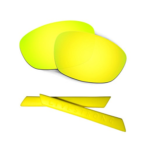 HKUCO 24K Gold Polarized Replacement Lenses Plus Yellow Earsocks Rubber Kit for Oakley Straight Jacket£¨2007