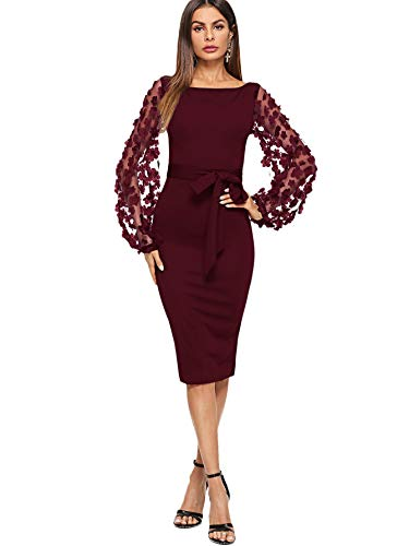 SheIn Women's Elegant Mesh Contrast Bishop Sleeve Bodycon Pencil Dress X-Large Burgundy