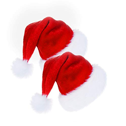 CENXINY, 2 Confezioni di Cappelli di Babbo Natale in Stile Tradizionale Rosso e Bianco, Perfetti per Feste in Costume e Eventi vacanti