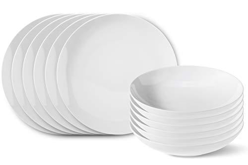 KPM Berlin Urbino Tafel-Set Porzellan 12-teilig - Porzellan-Set - Teller-Set - das perfekte Porzellan im minimalistischen Design - handgemacht & als Geschenk verpackt - Weiß