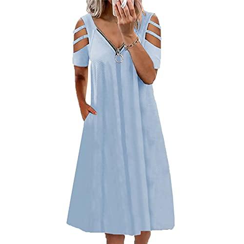 WJANYHN Lente en zomer vrouwen sexy V-hals rits effen kleur holle mouw korte mouwen jurk, Lichtblauw, XXL