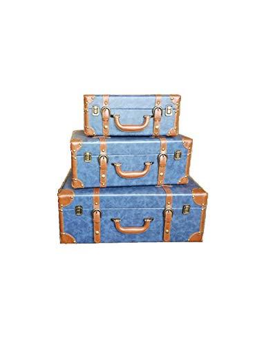 DL Maletas Decorativas. Modelo L. V, Inspirado en una afamada Marca Francesa 3 tamaños. Se Venden Sueltas o por Juego de 3 Unidades. (Azul Vaquero, Juego de 3 Unidades)